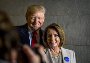 President-elect Donald J. Trump and U.S. Speaker of the House Nancy Pelosi smile for a photo during the 58th Presidential Inauguration in Washington, D.C., Jan. 20, 2017. More than 5,000 military members from across all branches of the armed forces of the United States, including reserve and National Guard components, provided ceremonial support and Defense Support of Civil Authorities during the inaugural period. (DoD photo by U.S. Air Force Staff Sgt. Marianique Santos)